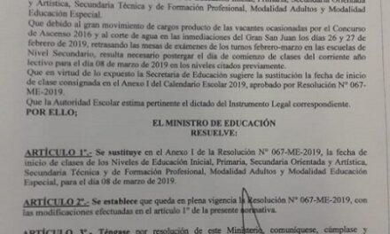 <h6>Resolución N° 336</h6> Rectifica el inicio del Ciclo Lectivo 2019 para el 8 de marzo