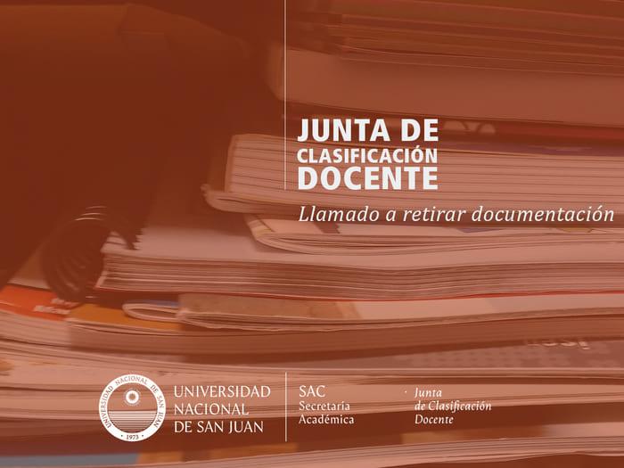 Convocan a retirar documentación de la Junta de Clasificación Docente