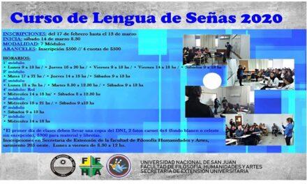 Facultad de Filosofía UNSJ: Curso de Lengua de Señas 2020