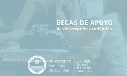 Están disponibles los listados oficiales para las Becas de Desempeño Académico UNSJ