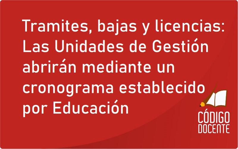 Tramites, bajas y licencias: Las Unidades de Gestión abrirán mediante un cronograma establecido por Educación