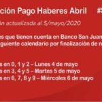 Aclaración sobre el pago de haberes de abril