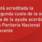 Está acreditada la segunda cuota de la suma fija de la ayuda acordada en Paritaria Nacional Docente